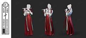 古代紅袍吹笛女子