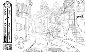 欧式小巷少女散步