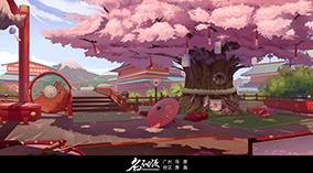 和风建筑群樱花树横版场景