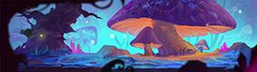 暗夜森林巨型蘑菇橫版場景