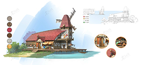 水边风车建筑