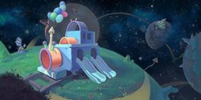 Q版宇宙空间玩具小火车