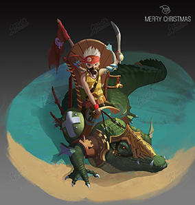 騎著鱷魚的海盜少年