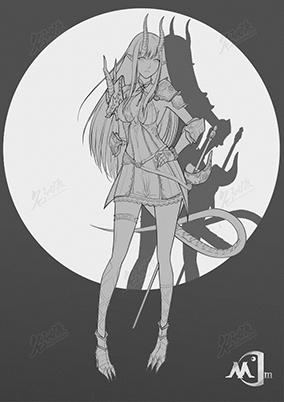 黑白长发龙女骑士