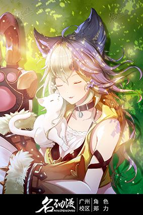 休息的猫耳少女与猫