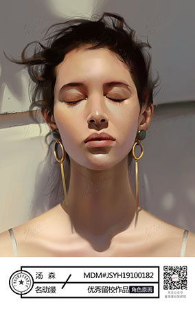 油画风戴耳环的模特