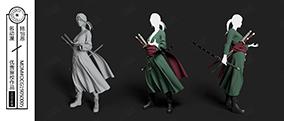 馬尾辮綠袍少女手持武士刀