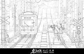 上学途中少女电车轨道