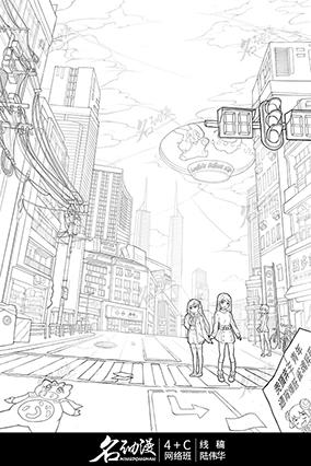 现代化都市少女逛街